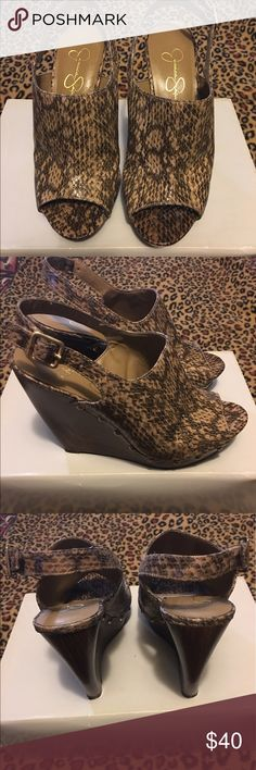 Woman's shoes Jessica Simpson brown wedge shoes Jessica Simpson Shoes Wedges