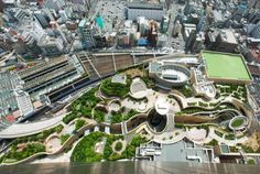 Japan's Namba Parks Has an 8-Level Roof Garden with Waterfalls