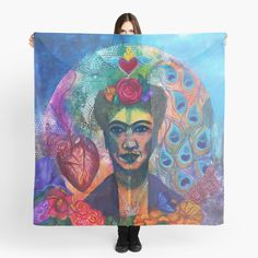 'Ode to Frida' Scarf by Ria Rademeyer Scarf Design, Dry Cleaning, Great Artists, Chiffon Tops, Painting, Dry Cleaning Business, Painting Art, Paintings, Painted Canvas