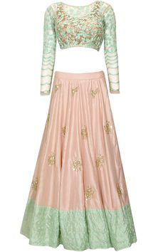 Peach moti work and sequins embroidered lehenga set available only at Pernia's Pop Up Shop..#perniaspopupshop #shopnow #newcollection #asthanarang #festive #designer #clothing