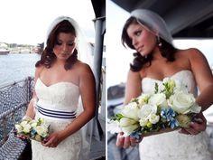 A simple blue and white band turns any wedding dress into a nautically themed wedding dress.  maritimemuseum.novascotia.ca