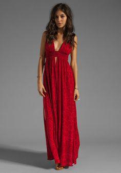 INDAH Anjeli Empire Maxi Dress in Antik Red - Indah