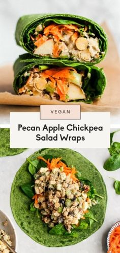 Delicious vegan pecan apple chickpea salad wraps with a creamy maple dijon tahini dressing. These easy chickpea salad wraps take just 15 minutes to make without any cooking involved, making this a great recipe for healthy lunches and parties! Enjoy the apple chickpea salad in your favorite wrap, on toast, as-is or even in lettuce cups! #vegan #healthylunch #glutenfree #vegetarian #plantbased #chickpeas #salad Apple Salad Recipes, Lunch Recipes, Vegetarian Recipes, Healthy Recipes, Vegetarian Lunch, Dinner Recipes, Quinoa Chickpea Salad, Chickpea Salad Recipes, Healthy Lunches