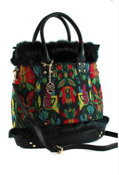 Fur And Canvas Printed Top Handle Tote Bag With Strap
