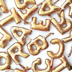 mini gold letter balloons