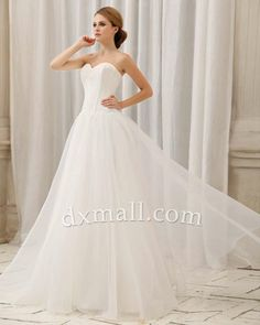 A-line Wedding Dresses Sweetheart Sweep/Brush Train Organza Satin Ivory 010010100513