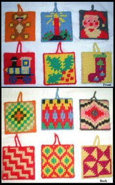 Needlepoint on plastic canvas ornaments