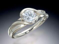Diamond Bypass Ring - custom designed and hand made at Skylight Jewelers.
