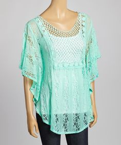 Look at this Mint Lace Cape-Sleeve Top on #zulily today!