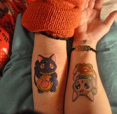 Artemis and Luna tattoo, Sailor Moon tattoo, lucky cat tattoo