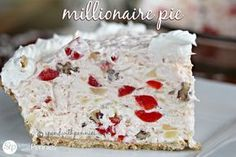 Delicious Millionaire Pie!  This easy pie is one of my favorite NO BAKE desserts!  If you like Ambrosia salad, you will love this easy coconut, pecan & pineapple dessert!