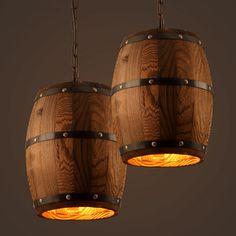 Loft Industrial Retro Wooden Bucket Pendant Lamp Personality Creative Bar Cafe Restaurant Pendant Light Free Shipping