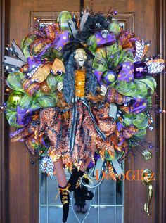 Extra Large HALLOWEEN Wreath with a FRIENDLY WITCH by decoglitz