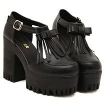 ROMWE Bowknot & Tassels Embellished Black Platforms with Buckle