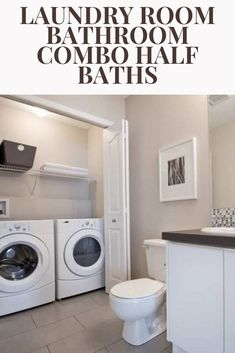 half Bathroom Decor Laundry Room Bathroom Combo Half Baths - Thinking out efficient use of space, such as having laundry in a closet in the bathroom, Laundry Bathroom Combo, Laundry Closet, Laundry Room Storage, Bathroom Bath, Basement Bathroom, Small Bathroom, Bathroom Ideas, Bathrooms, Basement Laundry