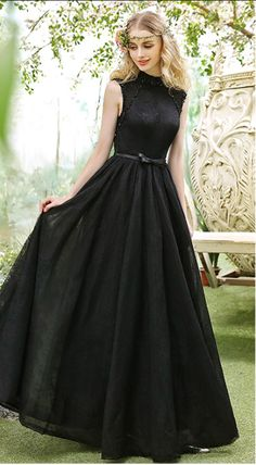 Black High Collar Evening Dresses Backless Brush Prom Dresses by prom dresses, $178.00 USD