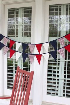 PATRIOTIC of July red, white, and blue fabric flag garland, American flag pennant bunting - 9 feet - by HatchlingsbyRachel Pennant Banners, Bunting Banner, Buntings, Party Bunting, Patriotic Bunting, Banner Ideas, Patriotic Party, Flag Garland, Fabric Garland