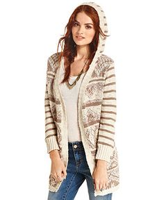 Christmas Idea-- I love this!!! American Rag Sweater, Long Sleeve Striped Hooded Cardigan - Juniors Sweaters - Macy's