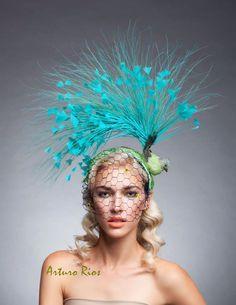 CuteTurquoise/ Green Bird fascinator, Kentucky derby hat, Melbourne cup fascinator, Vintage fascinator, Couture headpiece by ArturoRios on Etsy https://www.etsy.com/uk/listing/250729250/cuteturquoise-green-bird-fascinator
