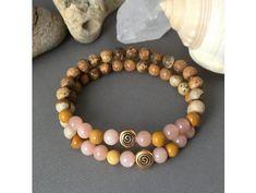Náramek z minerálů VNITŘNÍ HARMONIE 3. čakra - Manipura -sluneční kámen, obrázkový jaspis, jaspis mookait, spirála