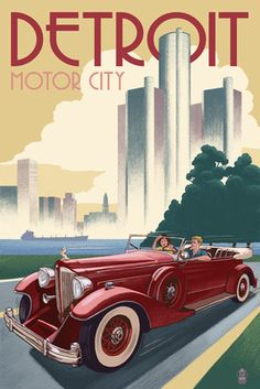 Detroit, Michigan - Vintage Car & Skyline - Lantern Press Poster