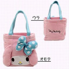 New! My Melody Stuffed Toy Face Tote Bag Pink Japan F/S #Sanrio