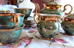 Seltmann Weiden Patterns | Vintage Tea Set, 1949 Seltmann Weiden, Bavarian, Blue Green Lustre and ...