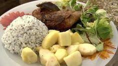 Mézes, mustáros csirke, mézes gyömbéres almával és mákos rizzsel