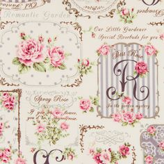 Bavlněná látka Růžičky s písmeny růžová Rose for You … Papel Vintage, Vintage Paper, Scrapbook Paper, Scrapbooking, Patchwork Fabric, Print Wallpaper, Decoupage Paper, Background Vintage, Vintage Labels