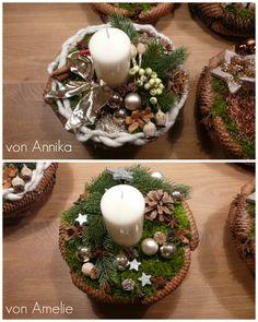 weihnachtsgesteck basteln adventsgesteck basteln weihnachtliches gesteck selber machen. Black Bedroom Furniture Sets. Home Design Ideas