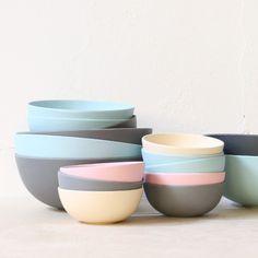 Elegant bamboo bowls in pastel shades