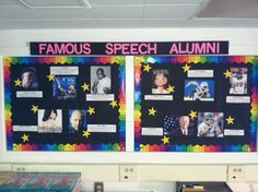 Speech bulletin board- sorry no link- just a photo of one of my creations. You can use google to find lists of celebrities who struggled with speech difficulties.