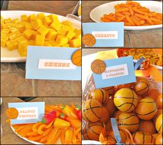 basketball party food- http://atozebracelebrations.com/2013/03/basketball-1st-birthday-party.html