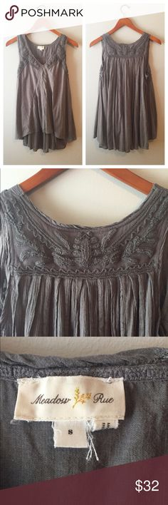 Charcoal Gray Anthropologie Top Light & flowy top by Meadow Rue for Anthropologie. Beautiful embroidery on front and back and it has a bit of a hi-lo style. Would be great with leggings or skinnies! Size small but I'd say it would fit up to a size 8 since it is so flowy. In great condition! Anthropologie Tops