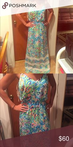 Beautiful lily Pulitzer maxi dress nwot Beautiful lily Pulitzer maxi dress. Has bright  splash print and spaghetti straps. New without tags no trades please Lilly Pulitzer Dresses Maxi