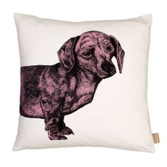 Dachsund Cushion in Pink by Lisa Bliss | Anthea's Home Store OK they're not corgis but Lisa's range of dachshund print products are gorgeously cute. The other side of the cushion has a print of the back of the dog!