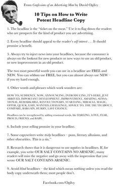 Copywriting: 10 tips on writing potent headlines by David Ogilvy - My Original Ideas Writing Skills, Writing Tips, Writing Prompts, Advertising Quotes, Marketing And Advertising, Advertising Industry, Branding, Bingo, Copy Ads