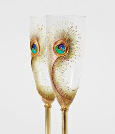 Champagne anyone? Peacock champagne flutes