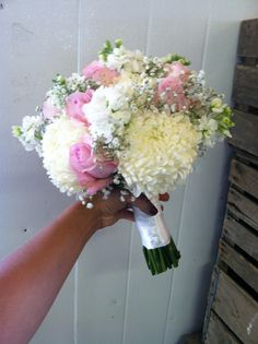 sweet and elegant! Football mums, light pink roses, white stock and babysbreath!