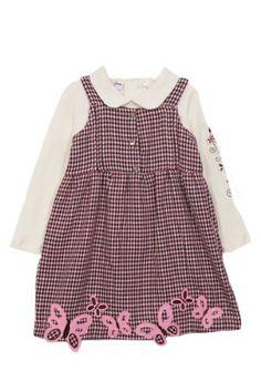 B T Kids Baby Girls Pink Brown Hounds tooth Butterfly Jumper Dress-6-9 Months