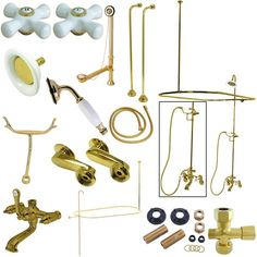 Kingston Brass Vintage Clawfoot Tub Wall Mount Package with Metal Cross Handles, Polished Brass Clawfoot Tub Shower, Bathtub, Shower Faucet, Vintage Tub, Bathroom Vintage, Shower Diverter, Faucet Handles, Brass Faucet, Kingston Brass