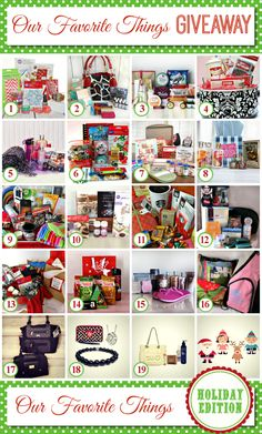 Several bloggers who have gotten together to give us a chance to win their favorite things! :)
