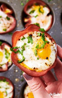 Ham & Cheese Egg Cups = Easiest Low-Carb Breakfast EverDelish - Ham - Ideas of Ham Low Carb Breakfast Easy, Healthy Breakfast Recipes, Best Breakfast, Brunch Recipes, Healthy Recipes, Dessert Recipes, Breakfast Cups, Recipes Dinner, Breakfast Ideas
