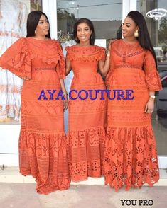 Image may contain: one or more people, people standing and text African Lace Styles, African Lace Dresses, Latest African Fashion Dresses, African Dresses For Women, African Print Fashion, African Wear, African Attire, African Blouses, Lace Dress Styles