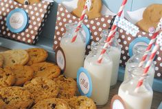 A cookie and milk themed party! How DARLING!