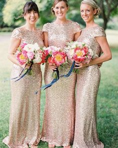 Jewel Gold Sequined Mermaid Long Bridesmaid Dress with Cap Sleeves 7ce512362719