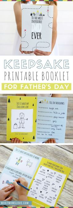Free Printable Fathers Day Card | All About Dad or Grandpa Book for kids to make - a unique personalized gift idea. Includes a fun questionnaire, coupons for Dad, and space to draw and color. The perfect DIY homemade card for Fathers Day.