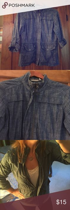 Denim Shirt Jacket Light weight denim shirt that zips in front and can be worn as a light jacket.  Rolled up sleeves with snap closure to hold the rolls secure.  Front pockets.  Looks great with colored skinny jeans and combat boots.  Great condition.  Distressed look.  Size is small but fits more like a Medium. croft & barrow Jackets & Coats Jean Jackets