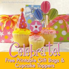 Gift Bag Toppers | Free Printable Birthday Party Cupcake Toppers and Gift Bags~ Party ...