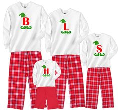 A fun personalized Christmas elf set for the whole family! Available in sizes for toddler, boys, girls, women, men; baby to adult 2XL. Choose